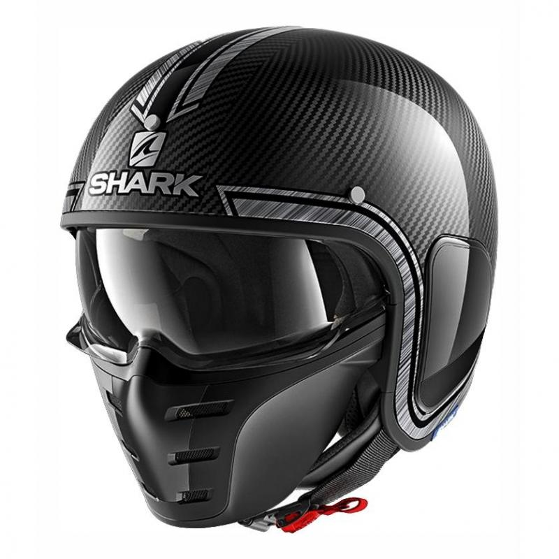 Casque jet Shark S-DRAK VINTA carbone/chrome/argent