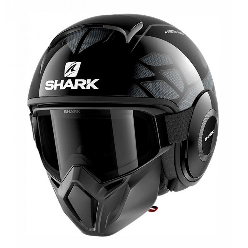 Casque jet Shark Street-Drak Hurok noir/argent/noir