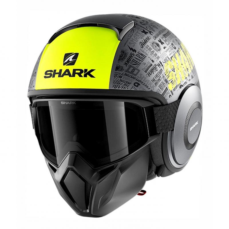 Casque jet Shark Street-Drak Tribute RM Mat anthracite/jaune/noir
