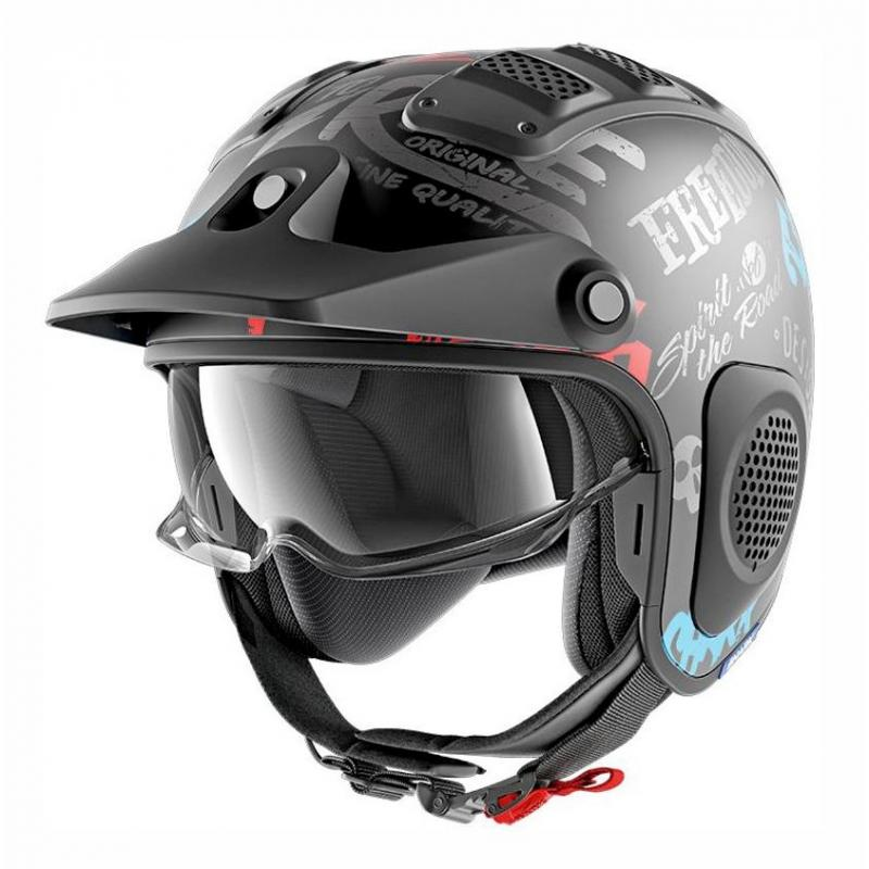 Casque jet Shark X-DRAK FREESTYLE CUP MAT noir/anthracite/bleu
