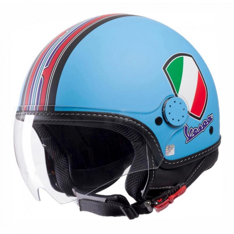 Casque jet Vespa V-Stripes bleu/rouge/multicolore