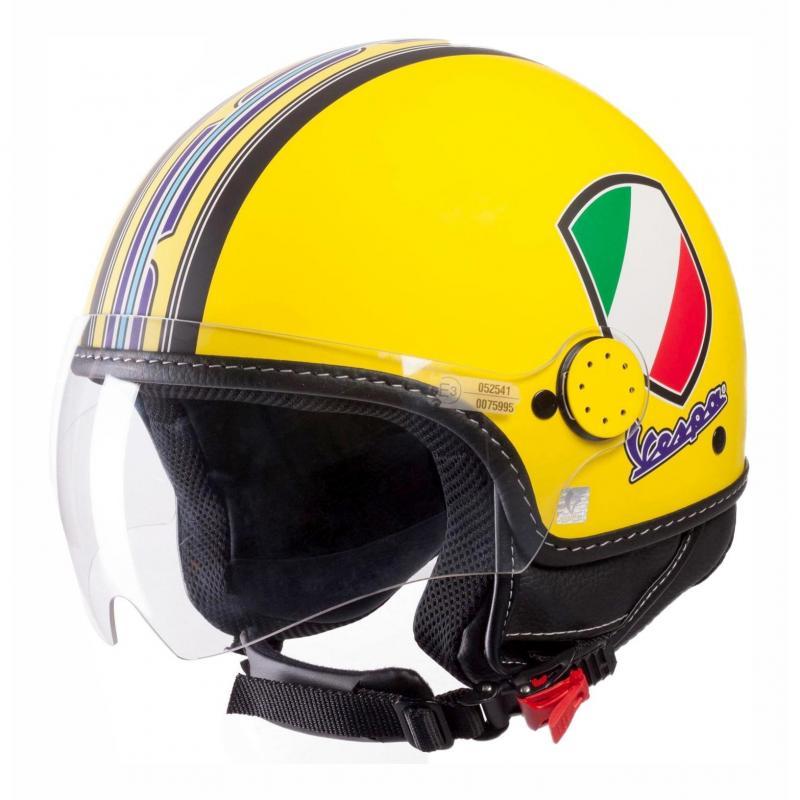 Casque jet Vespa V-Stripes jaune/mauve/multicolore