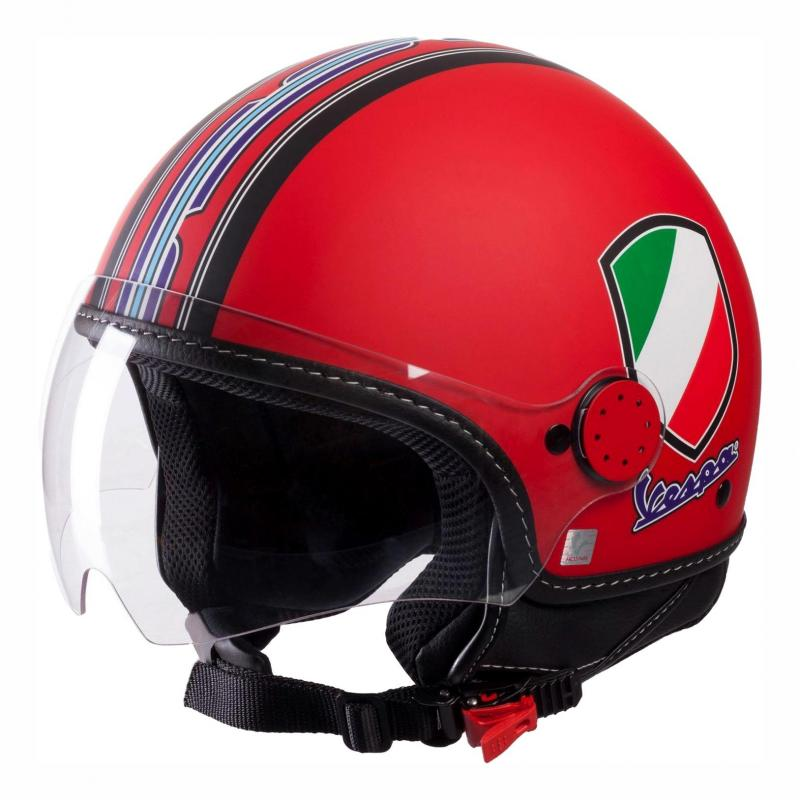 Casque jet Vespa V-Stripes rouge mat/noir