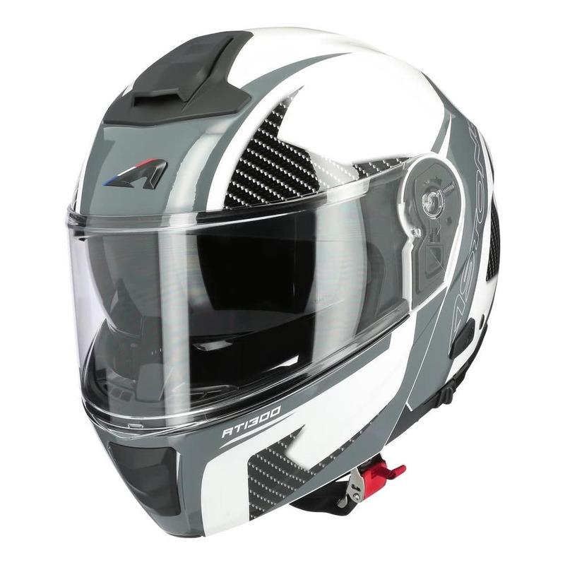 Casque modulable Astone RT1300F noir carbone/blanc/gris brillant