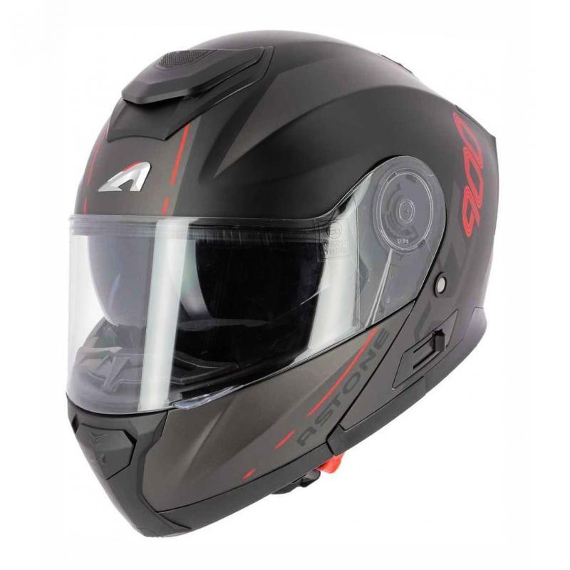 Casque modulable Astone RT900 Stripe noir mat/rouge