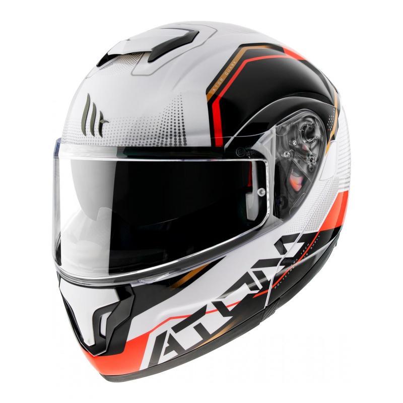 Casque modulable MT Helmets Atom SV Quark B5 blanc-rouge brillant