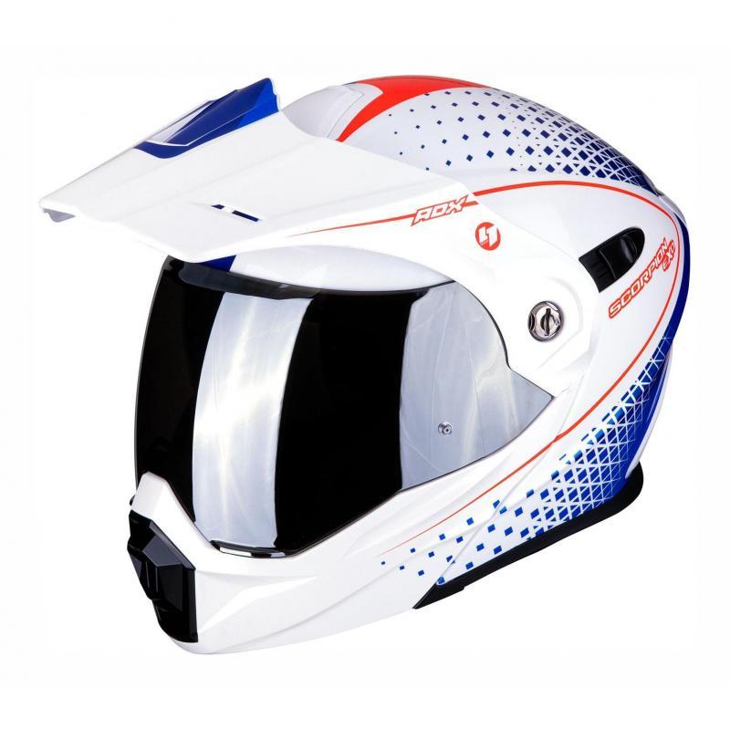 Casque modulable Scorpion ADX 1 Horizon Pearl blanc/rouge/bleu