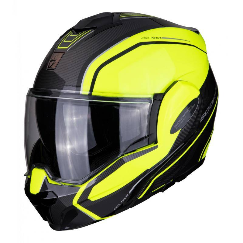 Casque modulable Scorpion Exo-Tech Time Off noir/jaune fluo mat