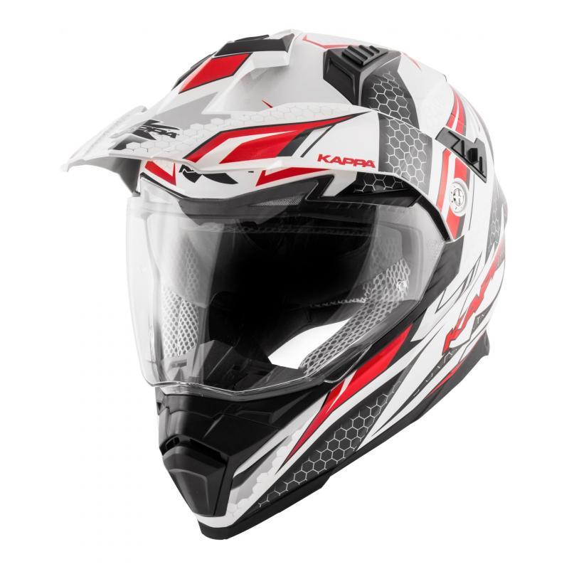 Casque trail Kappa KV30 Enduro Ride blanc verni/rouge/noir