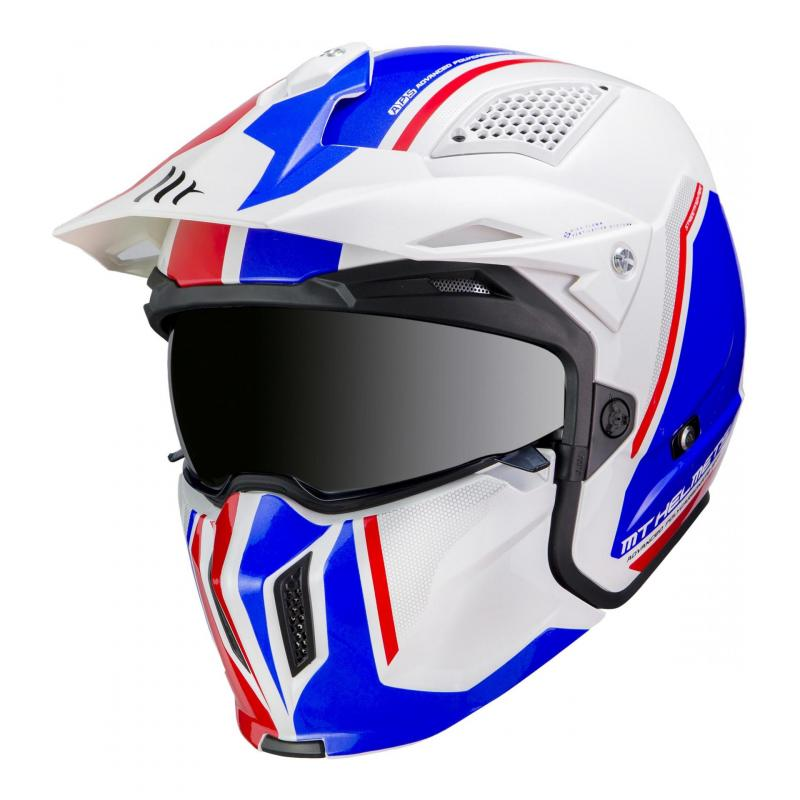 Casque transformable MT Helmets Streetfighter SV bleu-blanc brillant
