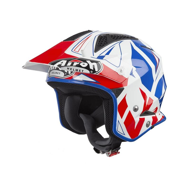 Casque trial Airoh TRR S Convert bleu/blanc/rouge brillant