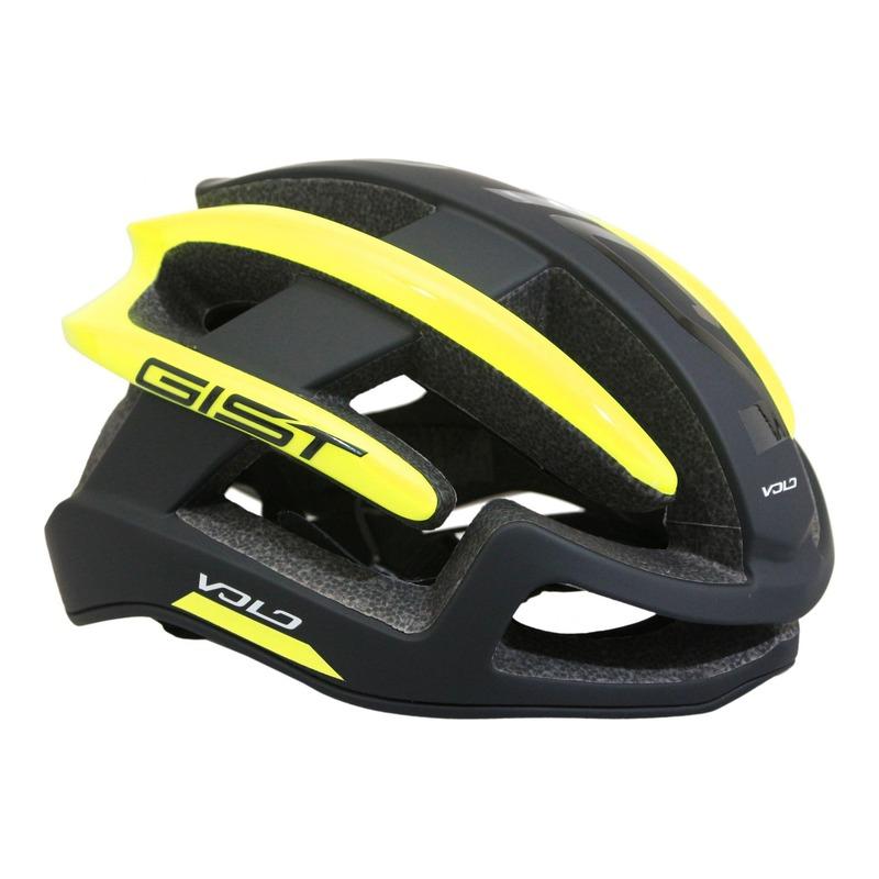 Casque vélo route Gist Volo noir mat/jaune fluo