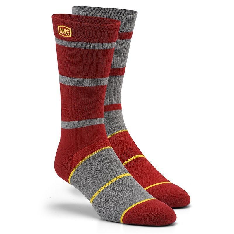 Chaussettes hautes 100% AUSTIN BURGUNDY rouge/gris/jaune