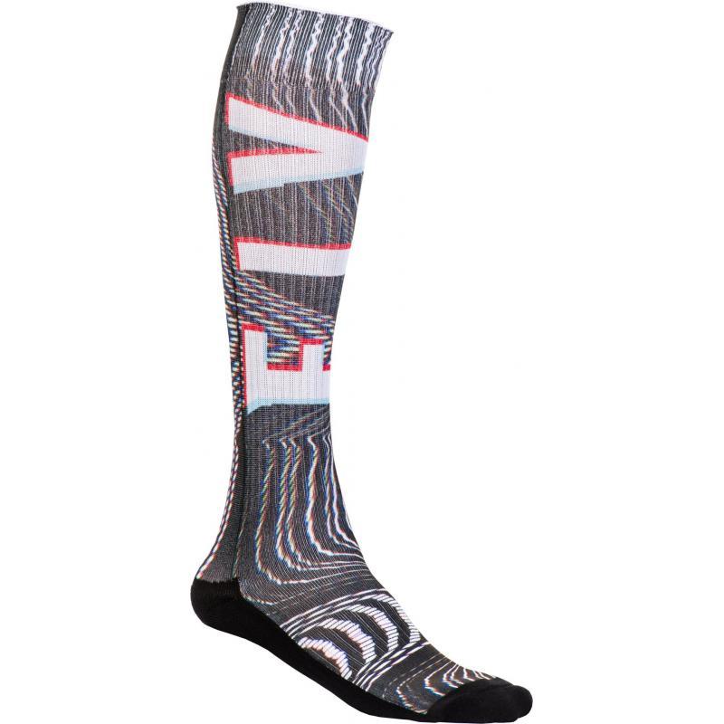 Chaussettes Fly Racing MX Pro Socks Thin Glitch noir/blanc