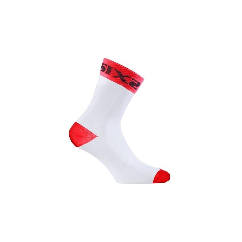 Chaussettes Sixs white short rouge