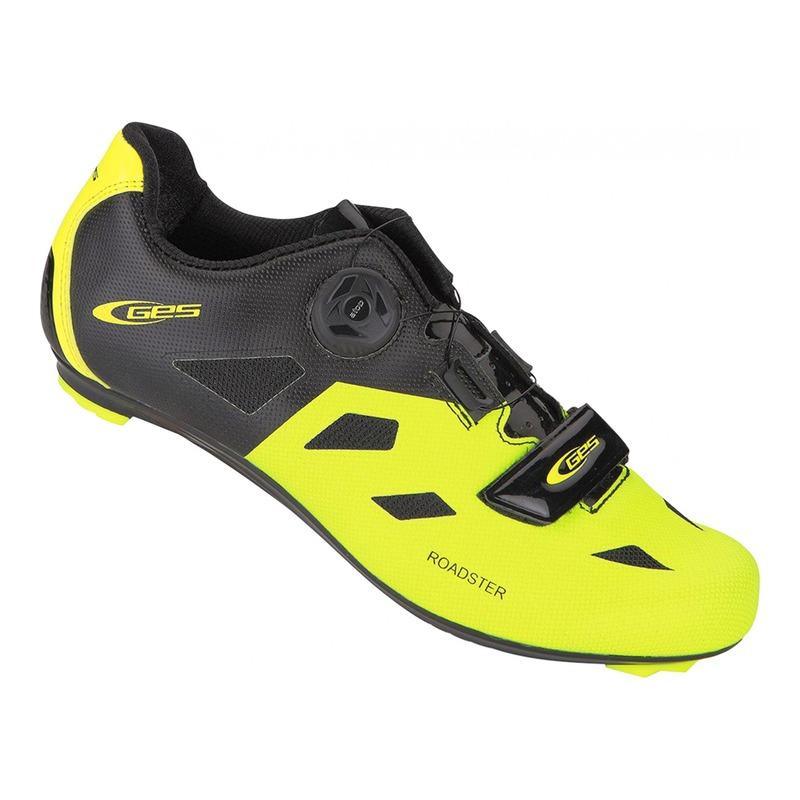 Chaussures vélo route GES Roadster jaune fluo/noir