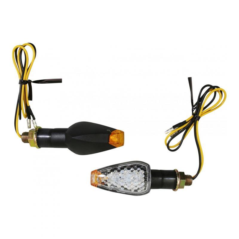 Clignotants LED Avoc Gama tige courte noir / transparent