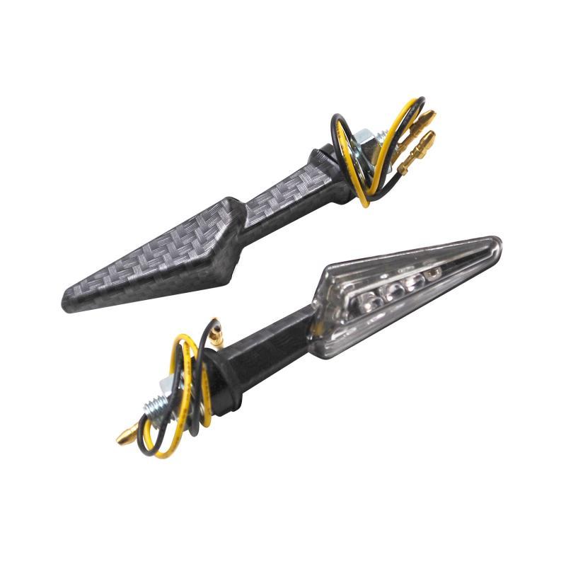 Clignotants Replay mini demi flèche à leds transparent/carbone mat (paire)