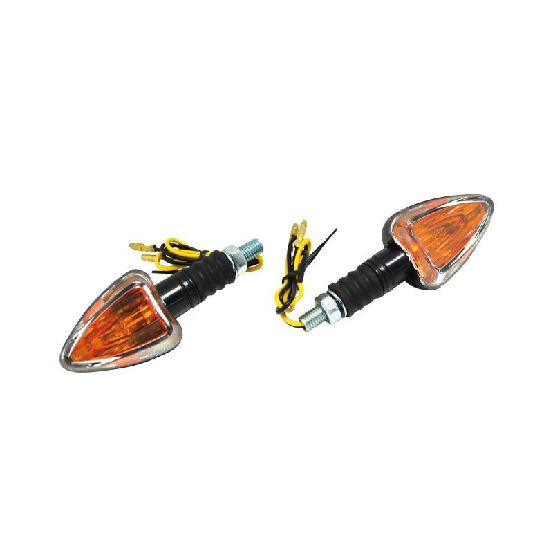 Clignotants Replay mini triangle orange/noir double cabochons avec témoin (paire)