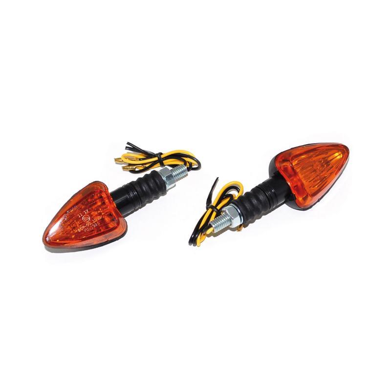 Clignotants Replay triangle orange/noir avec témoin base courte