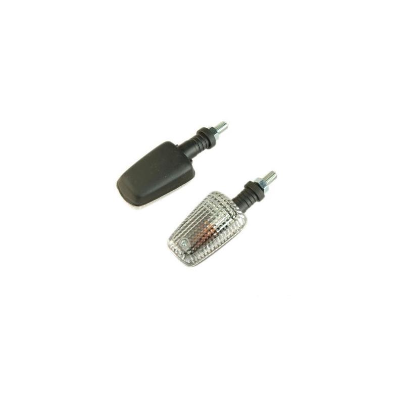 Clignotants Tun'R rectangle mini fixation courte noir/transparent avec ampoules orange