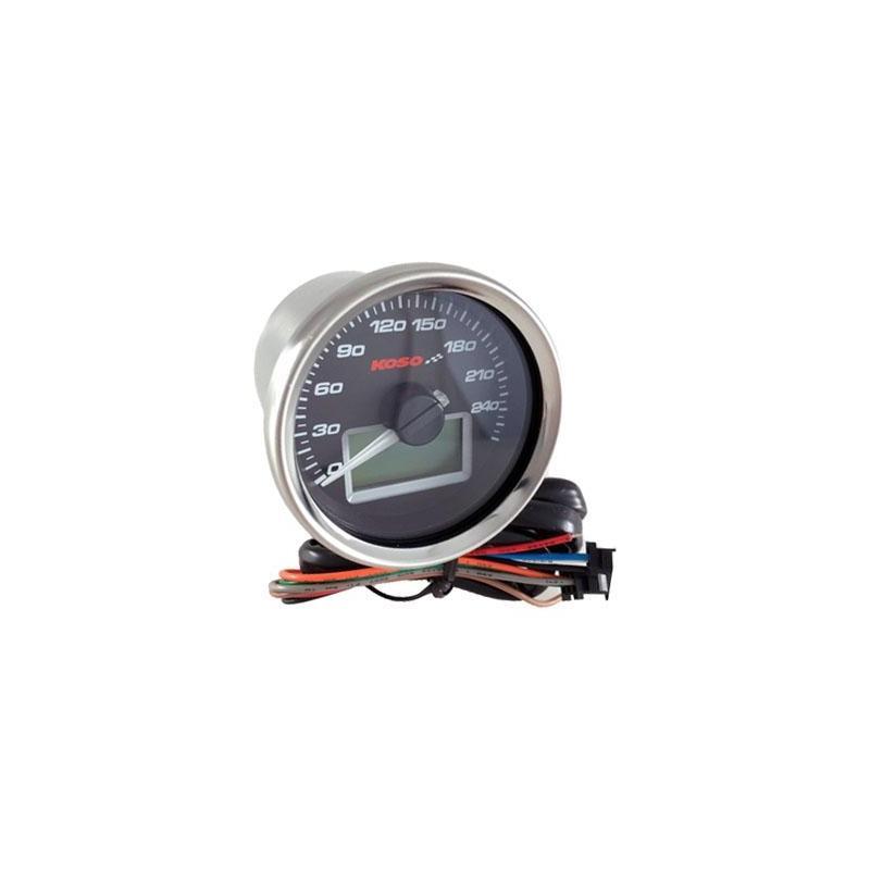 Compteur de vitesse Koso Ø55 mm fond noir éclairage bleu 260 km/h