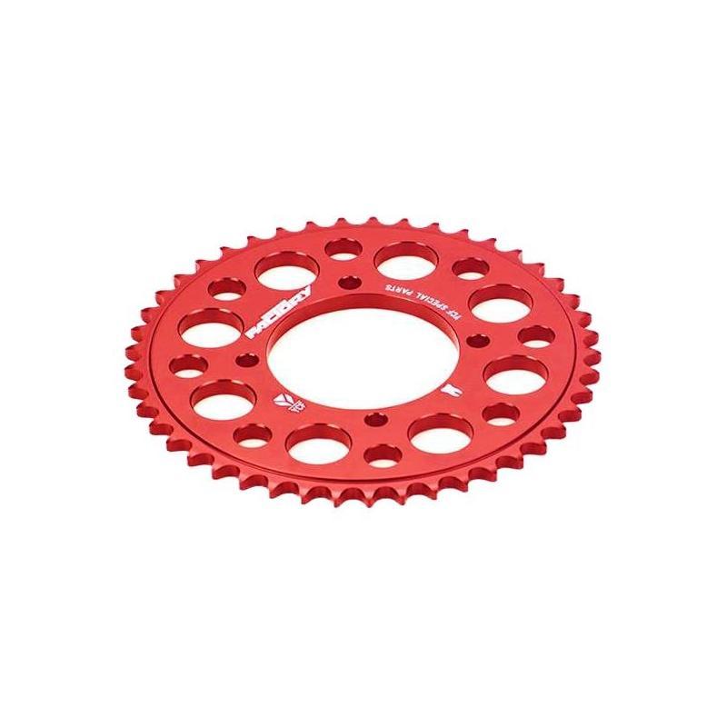 Couronne aluminium YCF pas 420 rouge (47 dents)