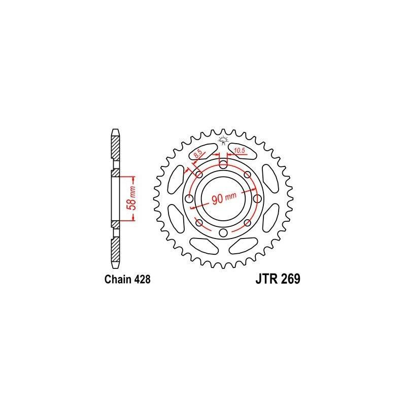 Couronne JT Sprockets Acier pas 428 47 dents - Pour Honda NX 125 89-90