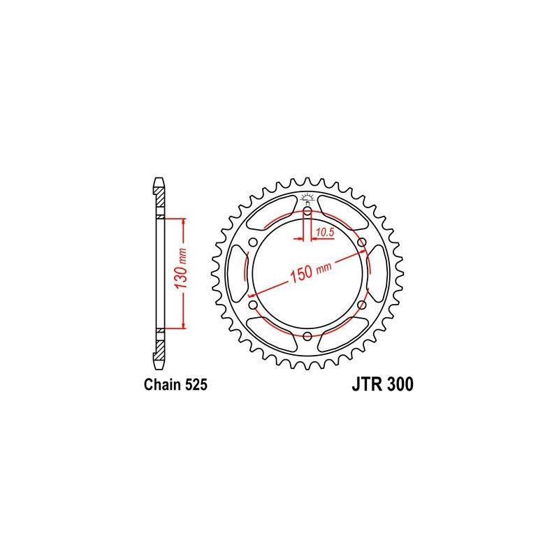 Couronne JT Sprockets Acier pas 525 39 dents - Pour Yamaha TRX 850 96-99