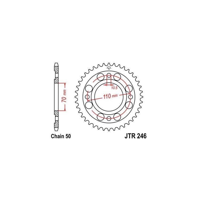 Couronne JT Sprockets Acier pas 530 34 dents - Pour Honda CM 400 T Chopper 79-81