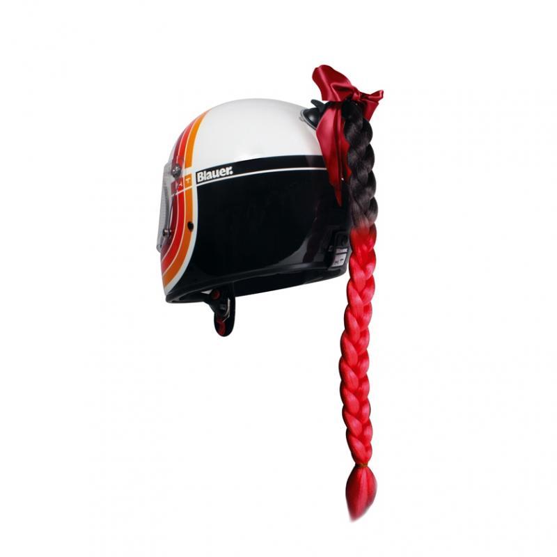 Décoration de casque Chaft tresse noir / rouge