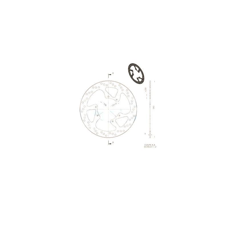 Disque de frein avant NG Brake Disc Rieju RS3 / Derbi Senda 125 Ø280 – 1327