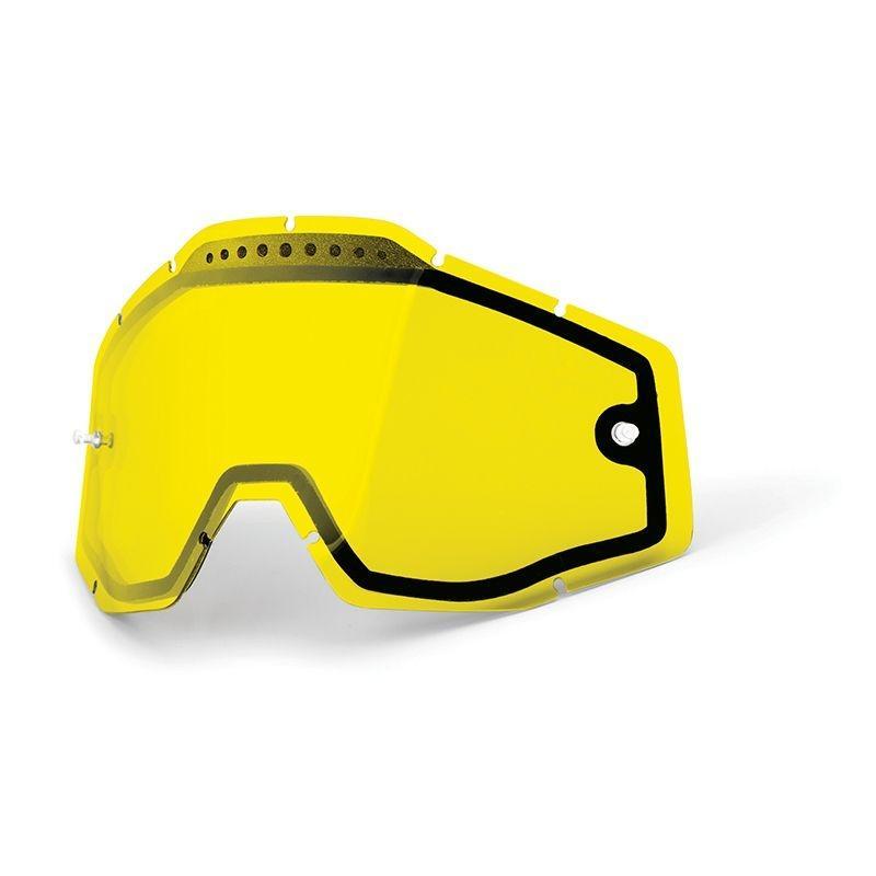 Écran masque cross 100% DUAL VENTED jaune