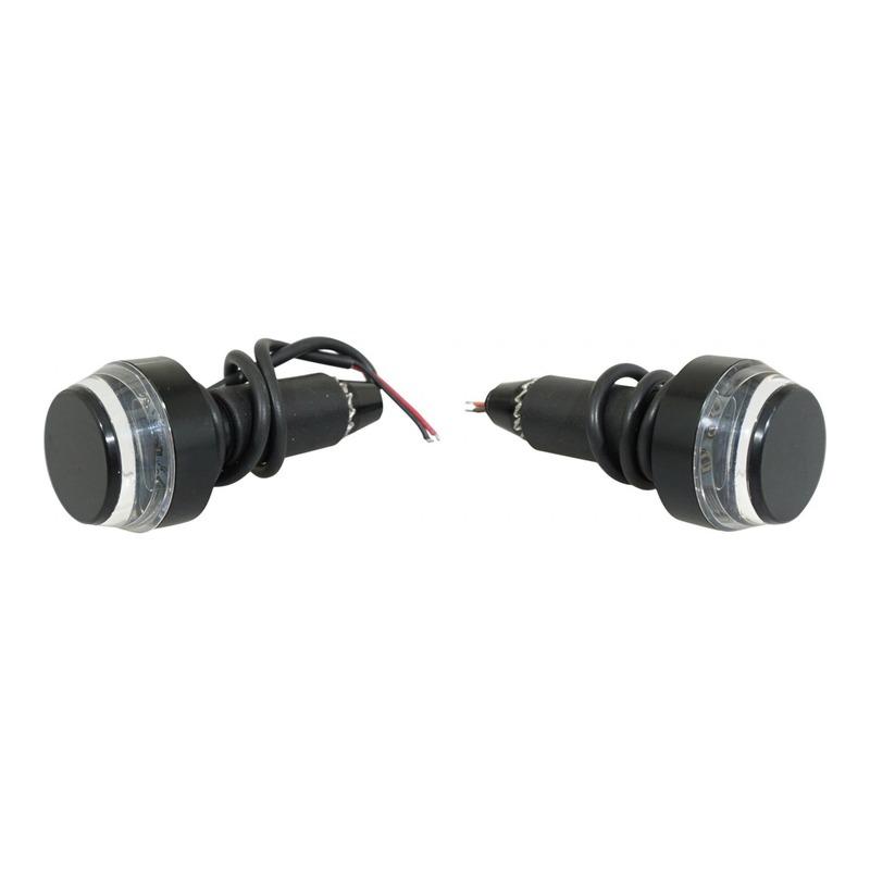 Embouts de guidon avec clignotants LED intégrés Avoc transparent et noir.