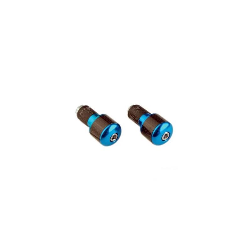 Embouts de Guidon Tun'R Rond Carbone/Bleu D.17 pour Guidon Acier