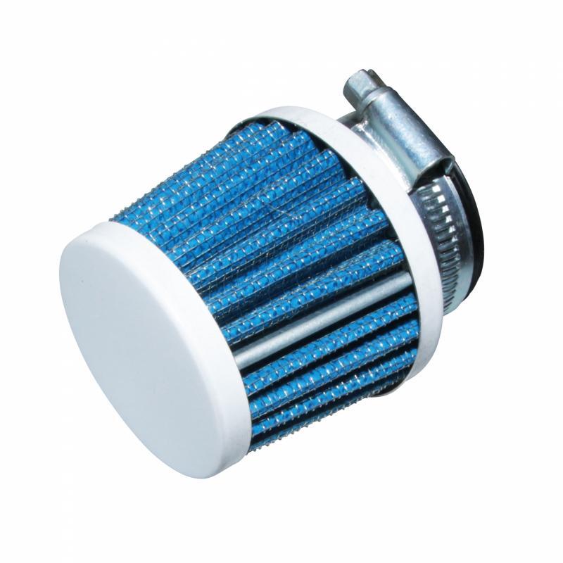 Filtre à air KN Replay small avec fixation droite Ø35-25 carbone-bleu