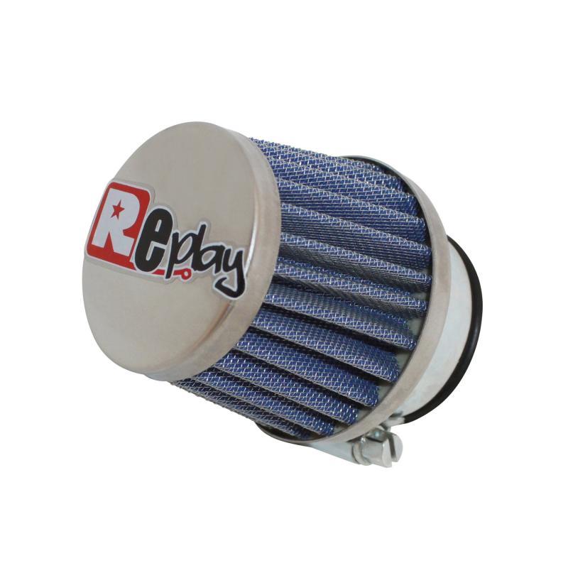 Filtre à air Replay KN small droit chrome/bleu D. 35/28