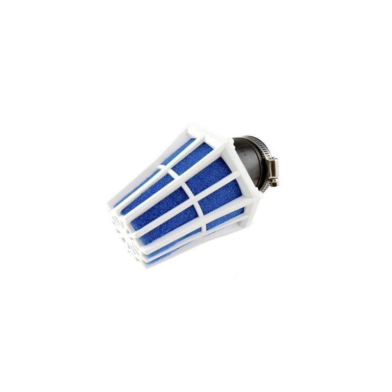 Filtre à Air Tun'R D28-35 Hexagonal Coude 30° Corps Blanc Mousse Bleu
