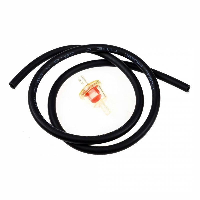 Filtre à essence conique D.6 avec durite noire 5x8 1m