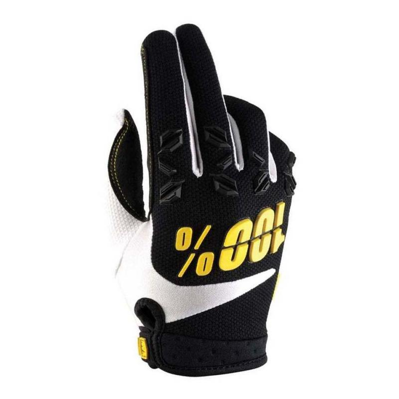 Gants cross 100% AIRMATIC noir/jaune