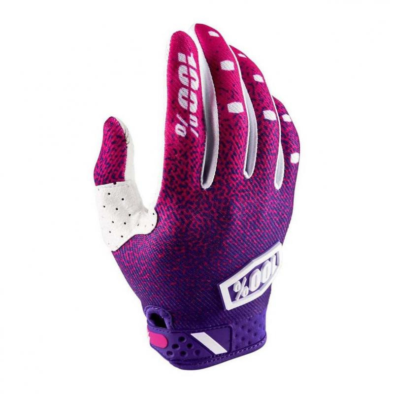 Gants cross 100% Ridefit rose/violet