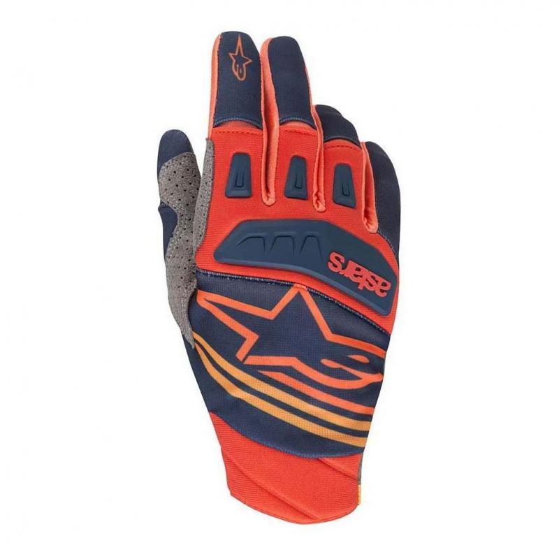 Gants cross Alpinestars Techstar dark blue/red tangerine
