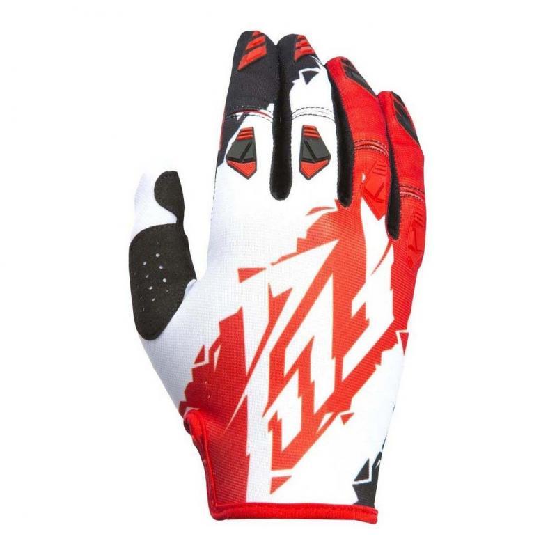 Gants cross Fly Racing Kinetic rouge/blanc