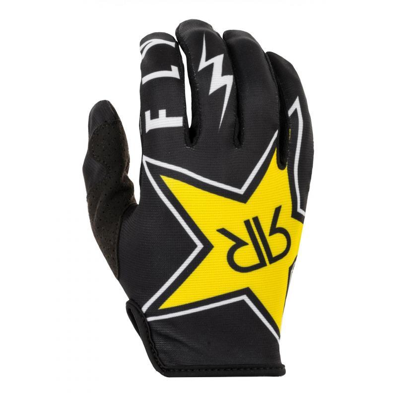 Gants cross Fly Racing Lite Rockstar noir/blanc/jaune