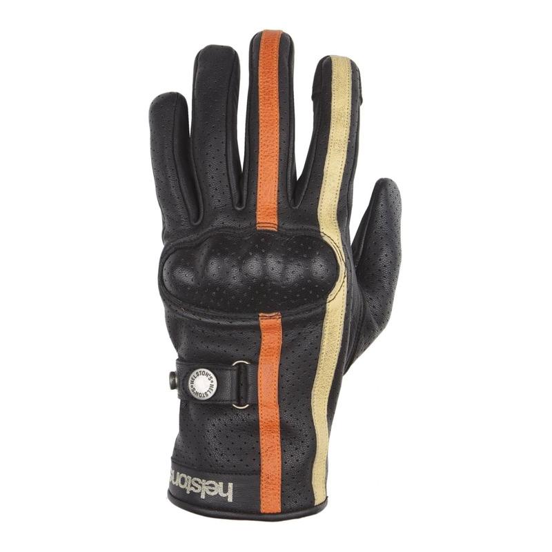 Gants cuir Helstons Eagle Air noir/orange/beige