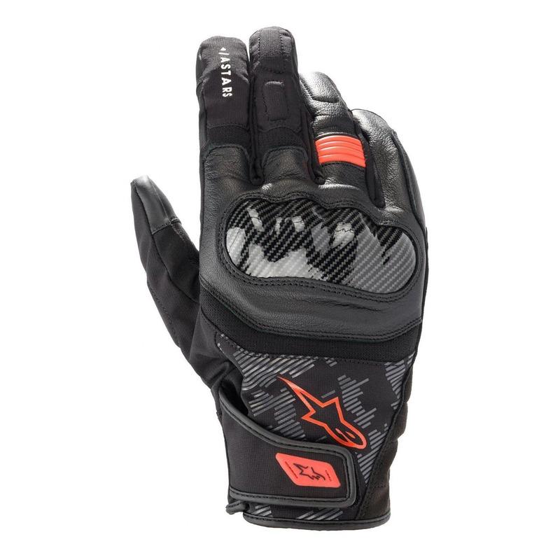 Gants cuir/textile Alpinestars SMX Z Drystar noir/rouge fluo