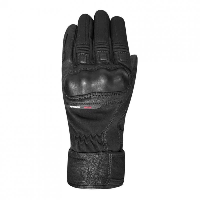 Gants cuir/textile Racer Octo WP noir/noir