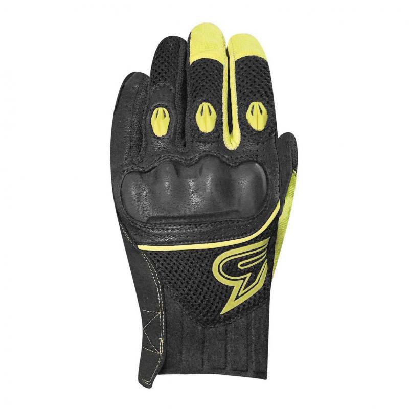 Gants cuir/textile Racer Slash noir/jaune