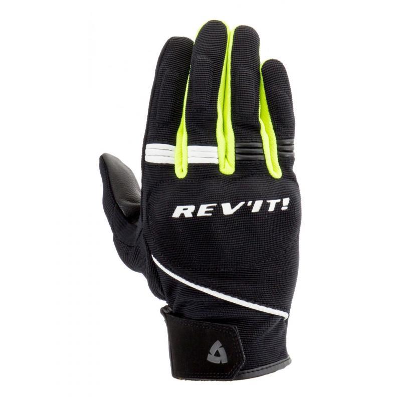 Gants cuir/textile Rev'it Mosca noir/jaune fluo