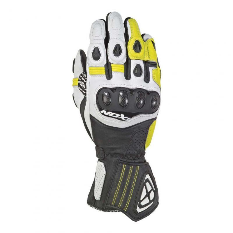 Gants été cuir Ixon RS Tilt noir/blanc/jaune vif